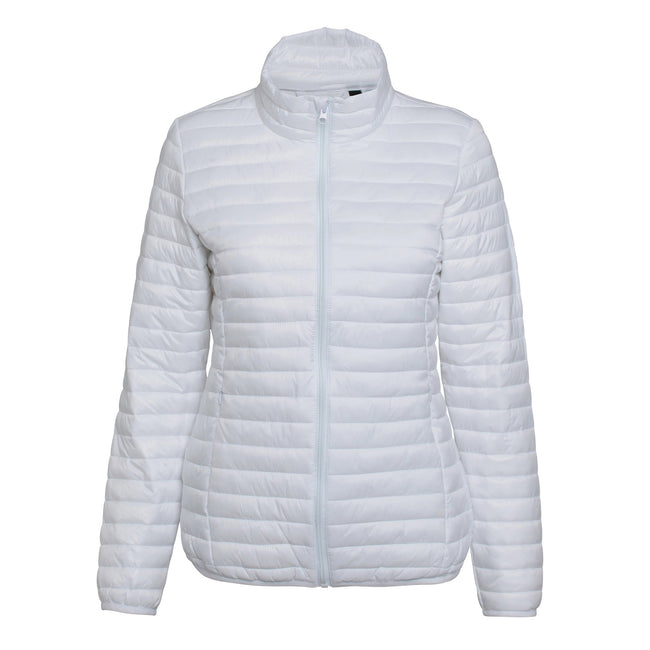 Olive - Front - 2786 Womens-Ladies Tribe Hooded Fineline Padded Jacket