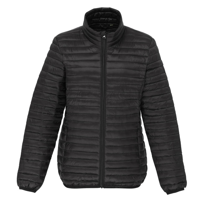 Black - Front - 2786 Womens-Ladies Tribe Hooded Fineline Padded Jacket