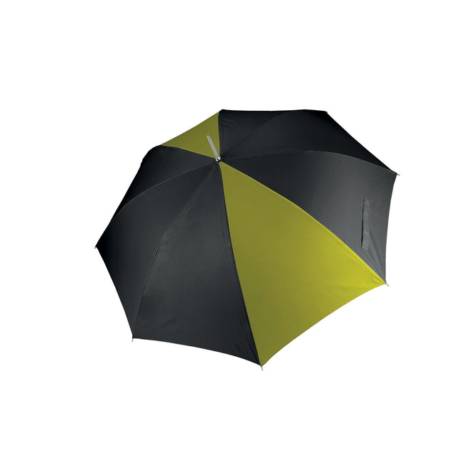 Black- Burnt Lime - Front - Kimood Unisex Auto Opening Golf Umbrella