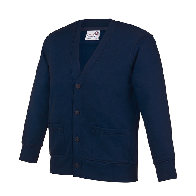Navy - Front - AWDis Academy Childrens-Kids Button Up School Cardigan