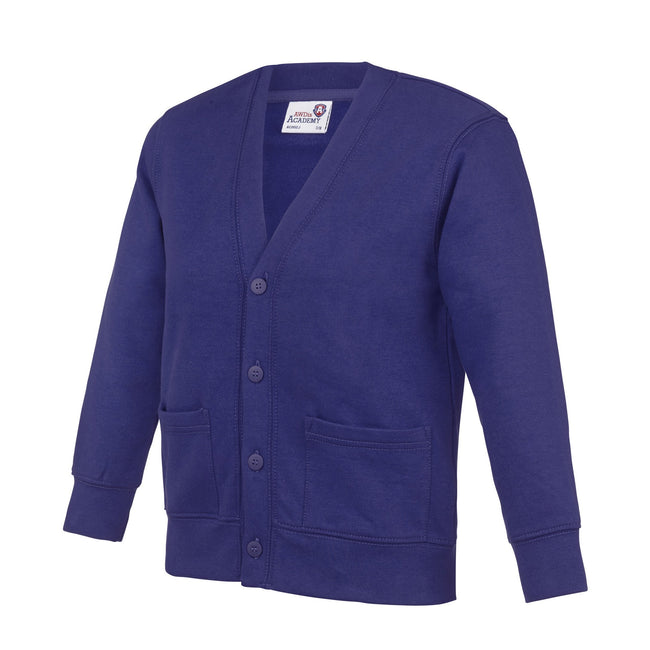 Purple - Front - AWDis Academy Childrens-Kids Button Up School Cardigan