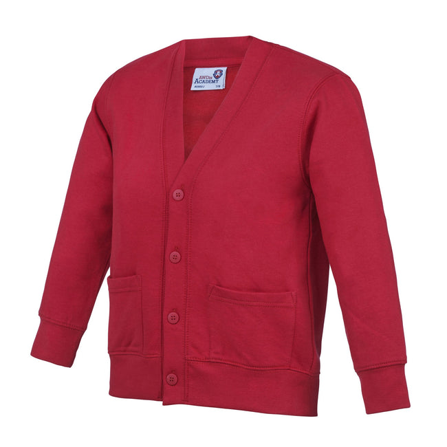 Red - Front - AWDis Academy Childrens-Kids Button Up School Cardigan