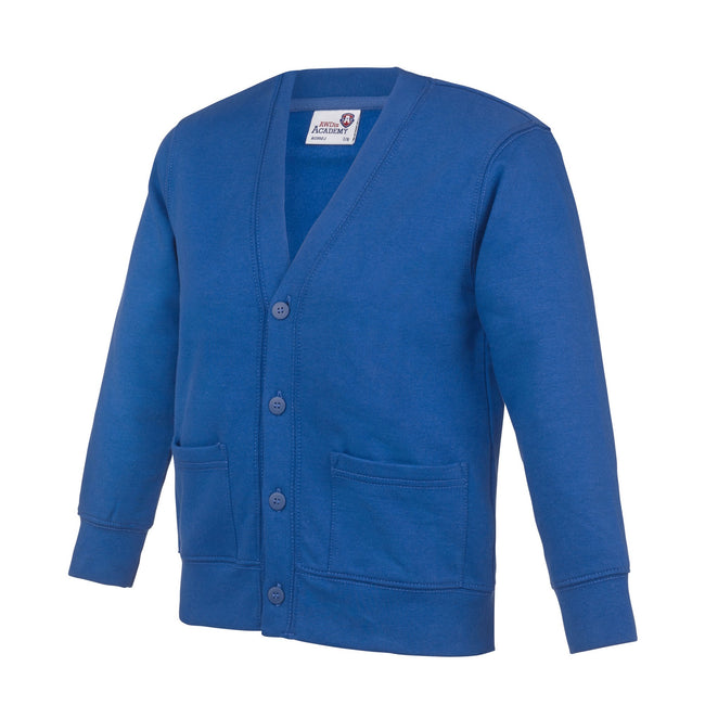 Royal Blue - Front - AWDis Academy Childrens-Kids Button Up School Cardigan