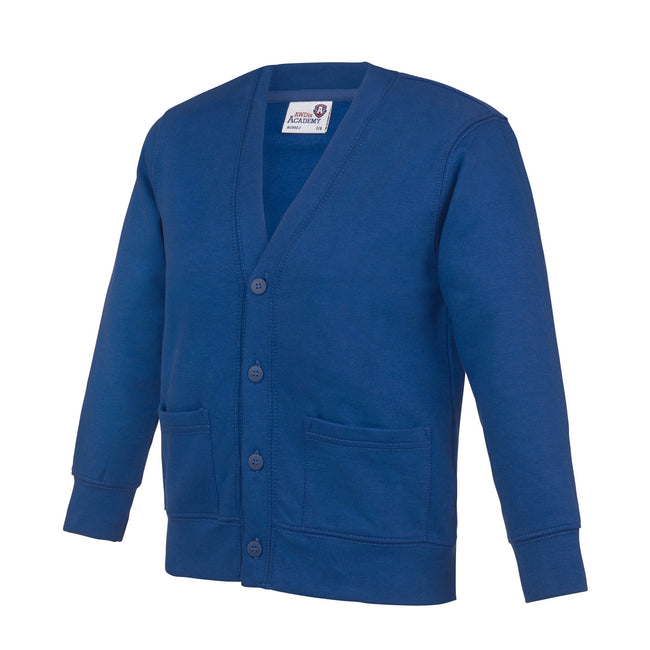 Deep Royal - Front - AWDis Academy Childrens-Kids Button Up School Cardigan