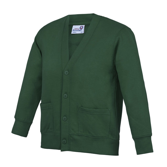Green - Front - AWDis Academy Childrens-Kids Button Up School Cardigan