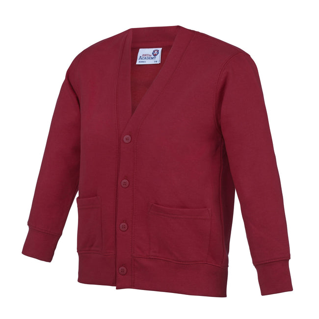 Burgundy - Front - AWDis Academy Childrens-Kids Button Up School Cardigan