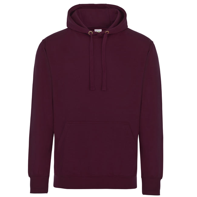 Burgundy - Front - AWDis Just Hoods Adults Unisex Supersoft Hooded Sweatshirt-Hoodie