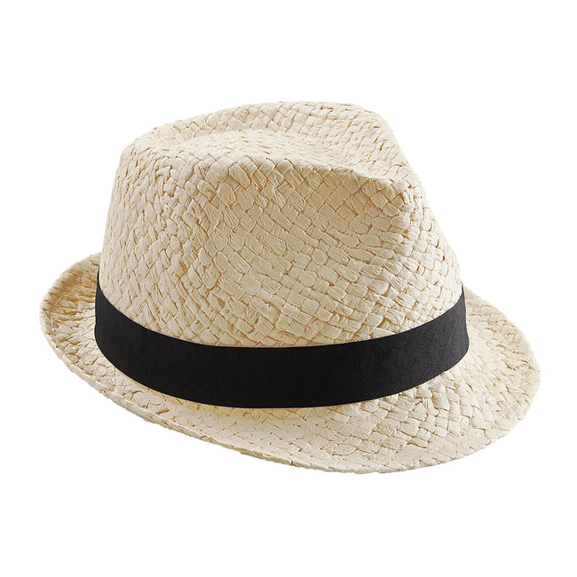 Natural - Front - Beechfield Unisex Straw Festival Trilby Hat