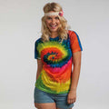 Rainbow - Back - Colortone Womens-Ladies Short Sleeve Rainbow Tie Dye T-Shirt