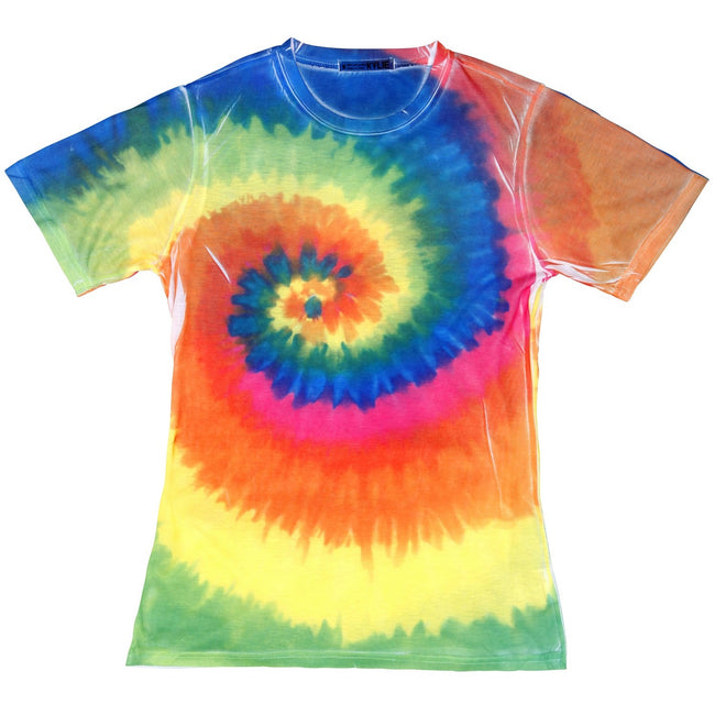 Rainbow - Front - Colortone Womens-Ladies Short Sleeve Rainbow Tie Dye T-Shirt