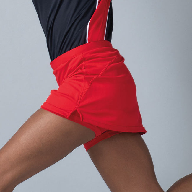 Red - Close up - Finden & Hales Womens-Ladies Sports Skort With Moisture Wicking Finish