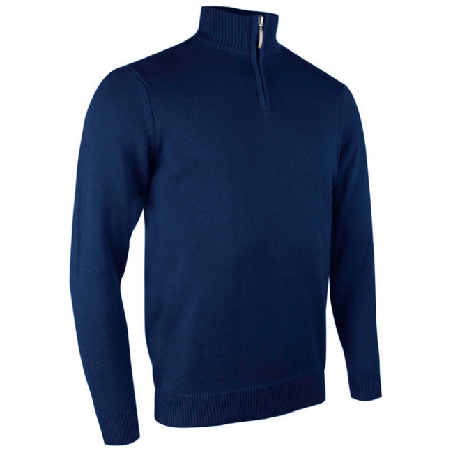 Ascot - Front - Glenmuir Mens Plain Zip Neck Cotton Golf Sweater-Jumper