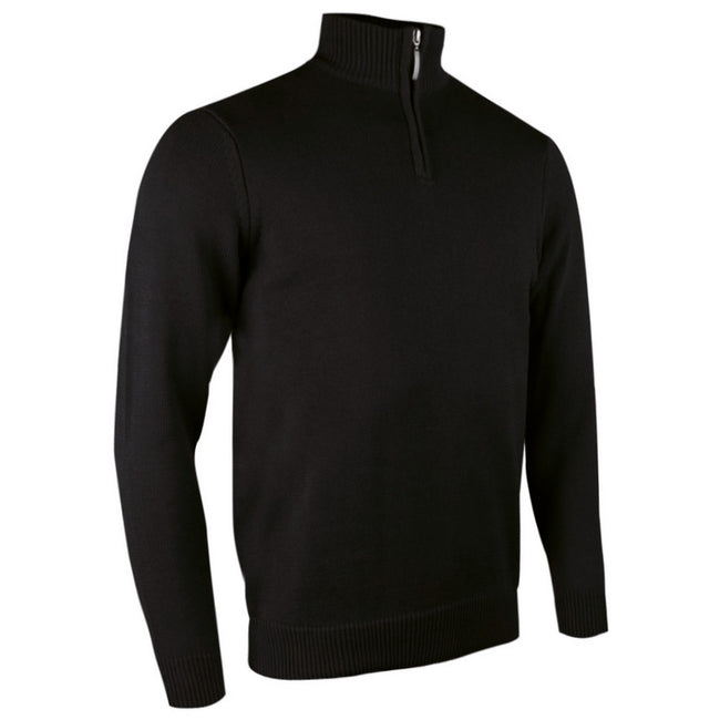 Black - Front - Glenmuir Mens Plain Zip Neck Cotton Golf Sweater-Jumper