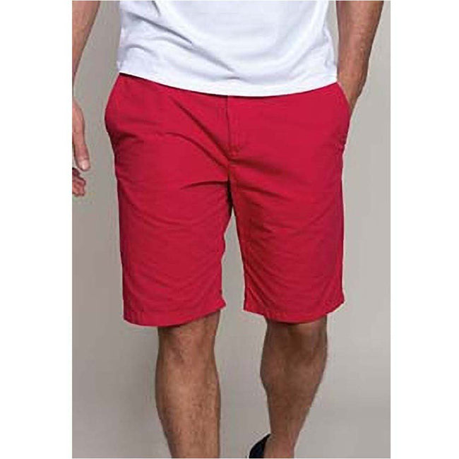 Washed Red - Back - Kariban Mens Plain Summer Bermuda Shorts