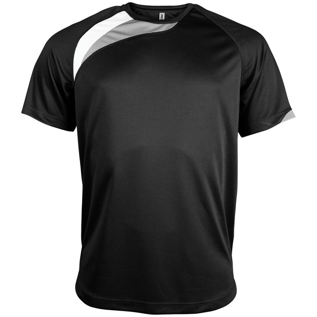 Black- White- Storm Grey - Front - Kariban Proact Mens Short Sleeve Crew Neck Sports T-Shirt