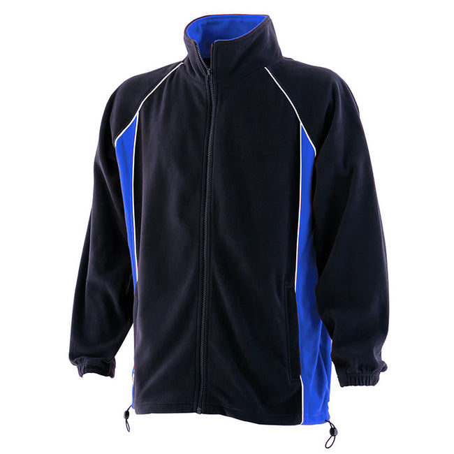 Navy-Royal-White - Front - Finden & Hales Mens Piped Anti-Pill Microfleece Jacket