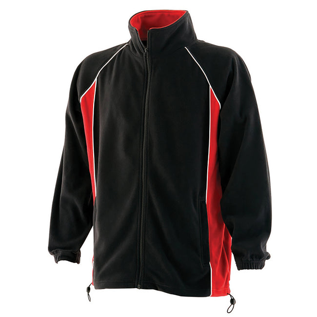 Black-Red-White - Front - Finden & Hales Mens Piped Anti-Pill Microfleece Jacket