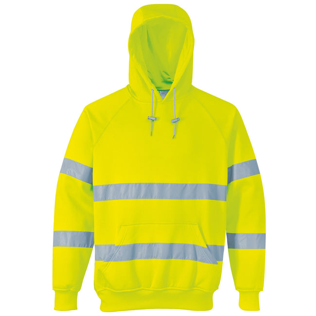 Yellow - Front - Portwest Unisex Hi-Vis Safety Hooded Sweatshirt - Hoodie