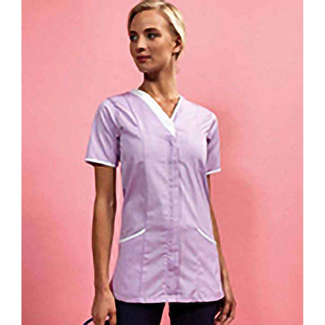 Lilac- White - Back - Premier Womens-Ladies Daisy Healthcare Work Tunic