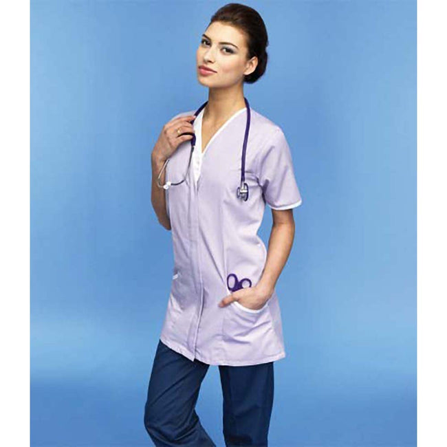 Lilac- White - Side - Premier Womens-Ladies Daisy Healthcare Work Tunic