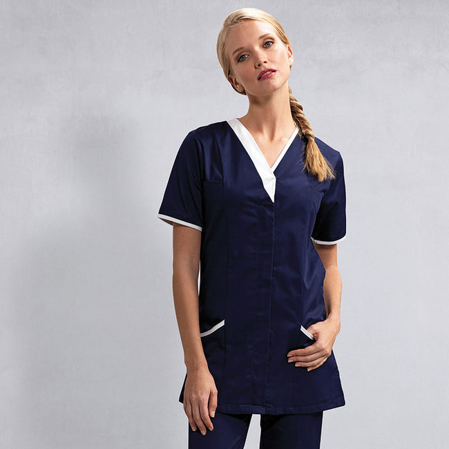 Navy- White - Back - Premier Womens-Ladies Daisy Healthcare Work Tunic