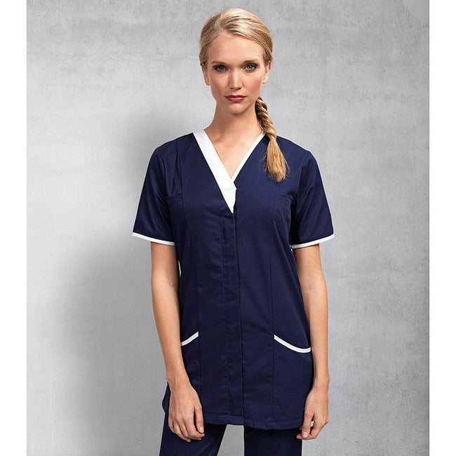 Navy- White - Side - Premier Womens-Ladies Daisy Healthcare Work Tunic