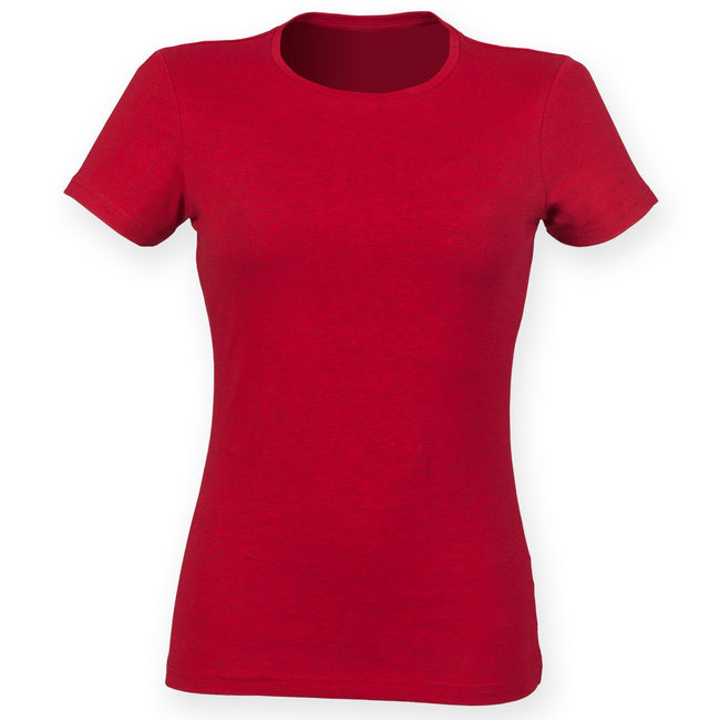 Light Stone - Front - Skinni Fit Womens-Ladies Feel Good Stretch Short Sleeve T-Shirt