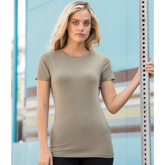 Clay - Front - Skinni Fit Womens-Ladies Feel Good Stretch Short Sleeve T-Shirt