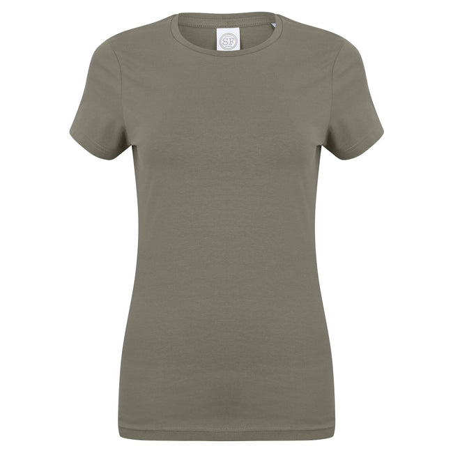 Khaki - Front - Skinni Fit Womens-Ladies Feel Good Stretch Short Sleeve T-Shirt
