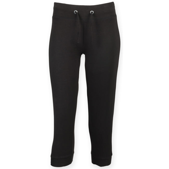 Black - Front - Skinni Fit Womens-Ladies Three Quarter Workout Pants - Bottoms