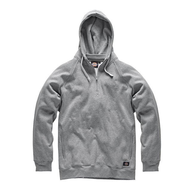 Grey Marl - Back - Dickies Mens Elmwood Hooded Cotton Rich Sweatshirt-Hoodie
