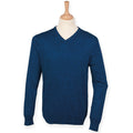 Blue Marl - Back - Henbury Mens V-Neck Tri-Blend Marl Sweater-Jumper