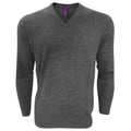 Grey Marl - Front - Henbury Mens V-Neck Tri-Blend Marl Sweater-Jumper