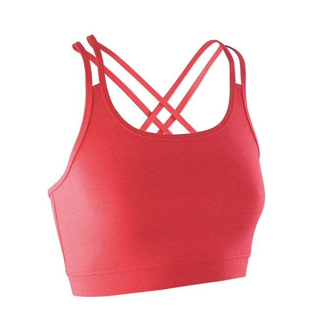 Hot Coral - Front - Spiro Womens-Ladies Fitness Sleeveless Crop Top