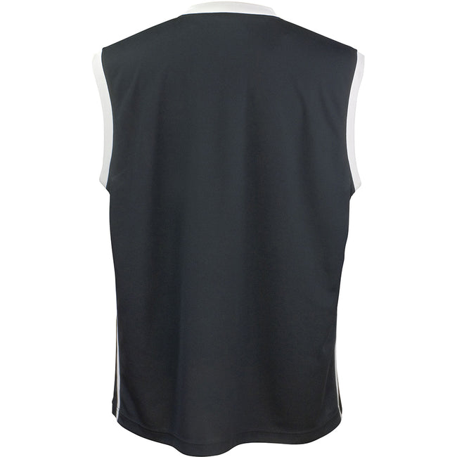 Black - White - Front - Spiro Mens Basketball Quick Dry Sleeveless Top