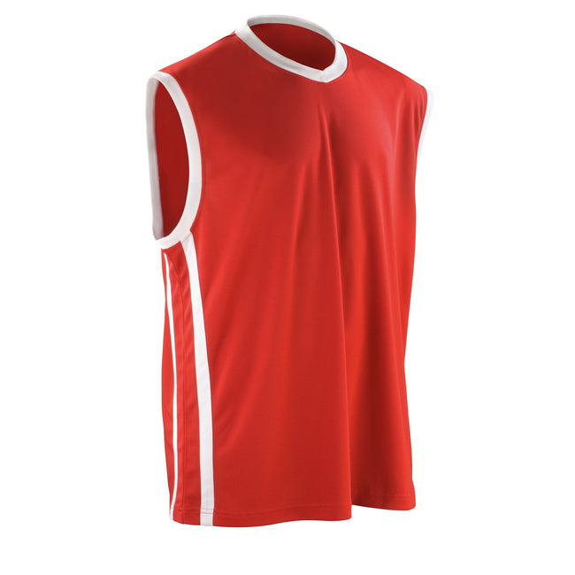 Red - White - Front - Spiro Mens Basketball Quick Dry Sleeveless Top