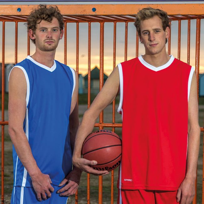Red - White - Back - Spiro Mens Basketball Quick Dry Sleeveless Top