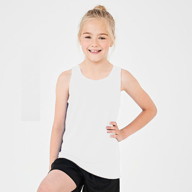Jet Black - Front - AWDis Just Cool Childrens-Kids Plain Sleeveless Vest Top