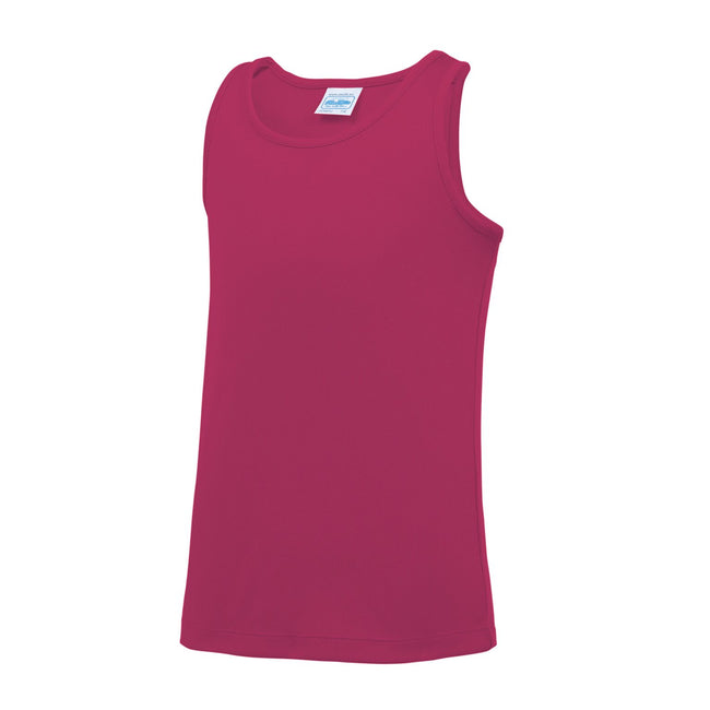 Hot Pink - Back - AWDis Just Cool Childrens-Kids Plain Sleeveless Vest Top