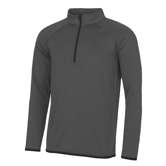 Charcoal- Jet Black - Front - AWDis Just Cool Mens Half Zip Sweatshirt
