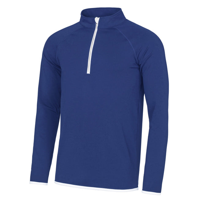 Royal Blue- Arctic White - Front - AWDis Just Cool Mens Half Zip Sweatshirt