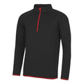 Jet Black- Fire Red - Front - AWDis Just Cool Mens Half Zip Sweatshirt