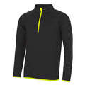 Jet Black- Electric Yellow - Front - AWDis Just Cool Mens Half Zip Sweatshirt
