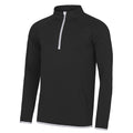 Jet Black- Arctic White - Front - AWDis Just Cool Mens Half Zip Sweatshirt