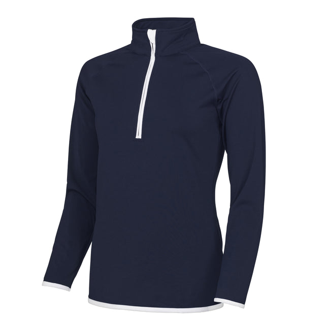 French Navy- Arctic White - Front - AWDis Just Cool Womens-Ladies Half Zip Sweatshirt