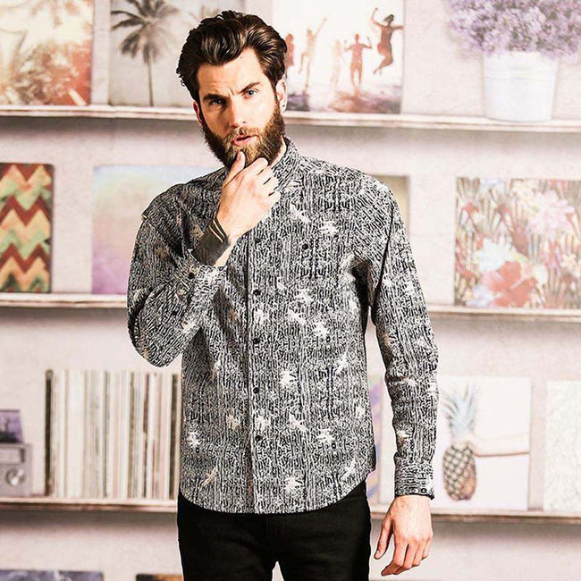 Black- Optic White - Back - Brave Soul Mens Idris Long Sleeve All Over Patterned Shirt