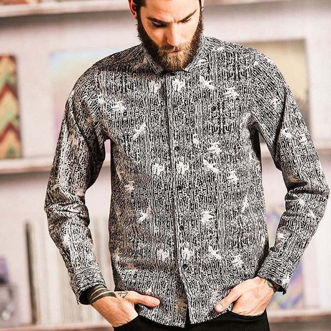 Black- Optic White - Side - Brave Soul Mens Idris Long Sleeve All Over Patterned Shirt