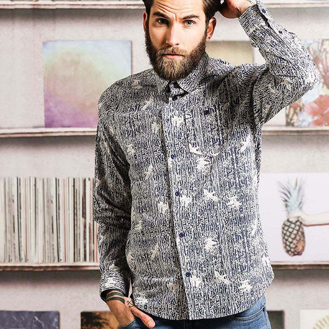 Ink- Optic White - Back - Brave Soul Mens Idris Long Sleeve All Over Patterned Shirt