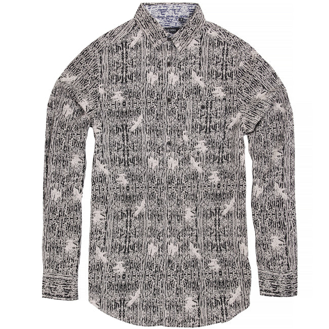 Black- Optic White - Front - Brave Soul Mens Idris Long Sleeve All Over Patterned Shirt