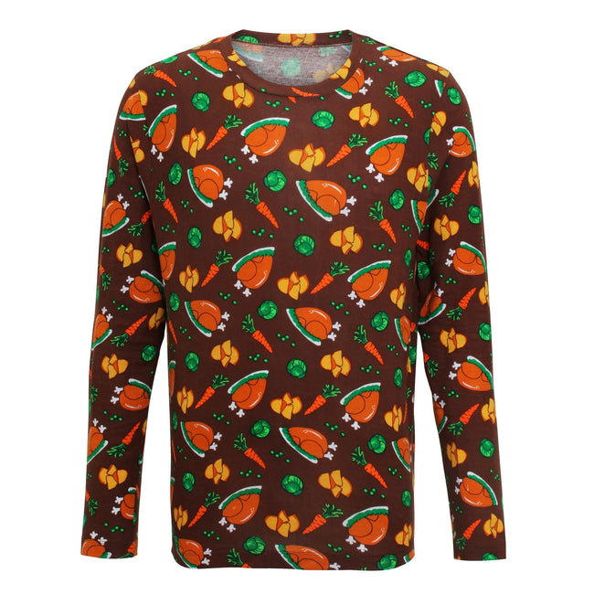 Brown - Front - Christmas Shop Mens Christmas Dinner Long Sleeve T-Shirt